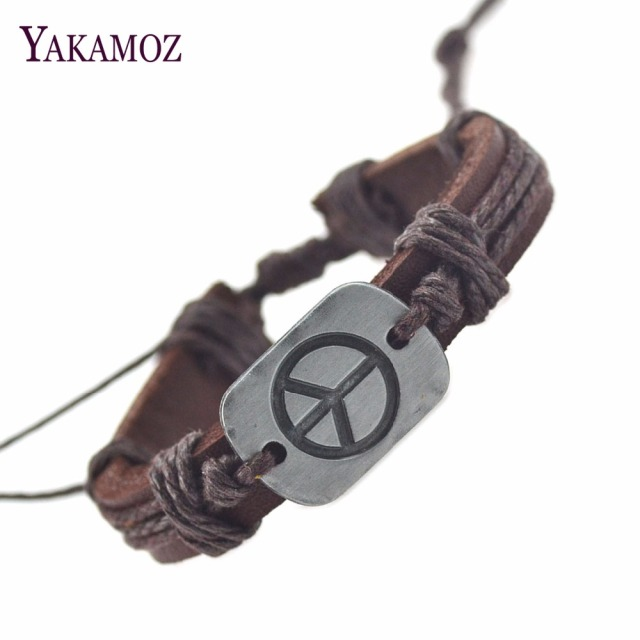 New Arrival Genuine Leather Bracelets For Women Men Peace Bracelets & Bangles Fashion Fine Jewelry