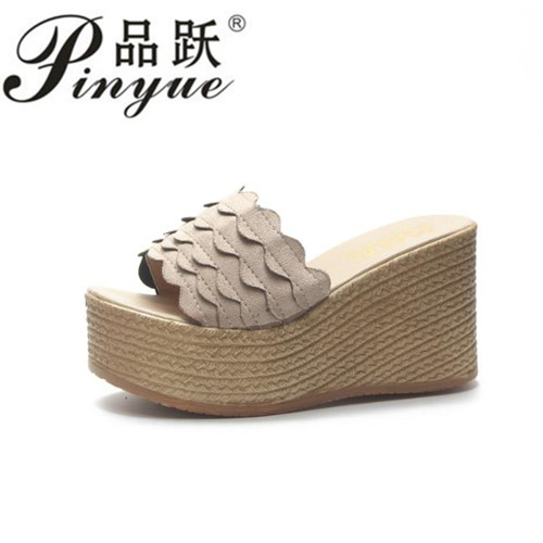 Women Slipper Sandals Heels Wedges Platform Leather Peep toe Crystal Elegant Female Sandals Ladies Mules clogs Summer Shoes elegant slip on wedges shoes women casual chunky heel summer red blue peep toe suede 2018 high heels mules platform sandals