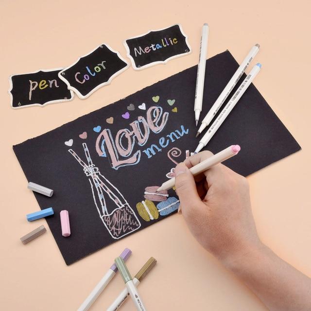 STA 10 Colors Metallic Marker Pen Set DIY Scrapbooking Crafts Card Making Brush/ Round Head Art Pen For Drawing 3