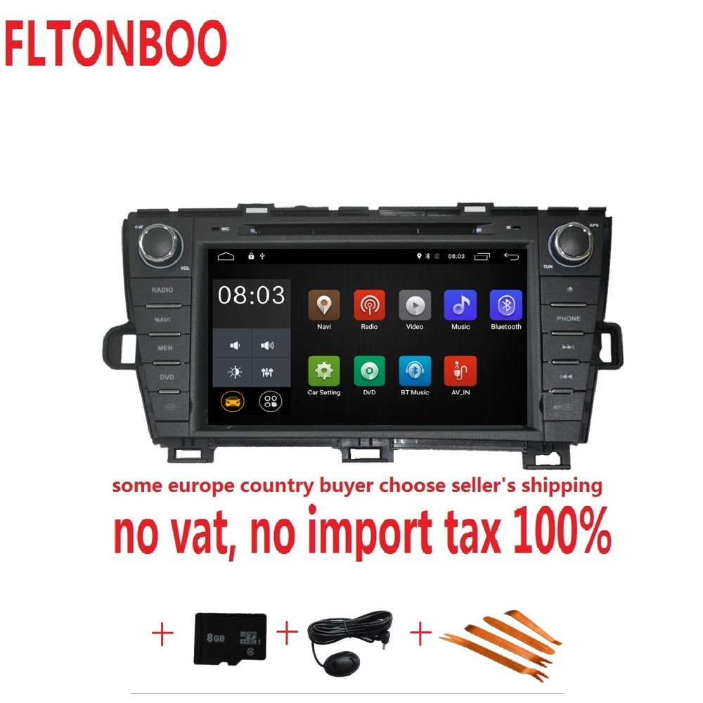 8 Android 8.1for Toyota prius gauche 2din voiture dvd, navigation gps, wifi, radio, bluetooth, volant, Livraison 8g Carte, micro, écran tactile