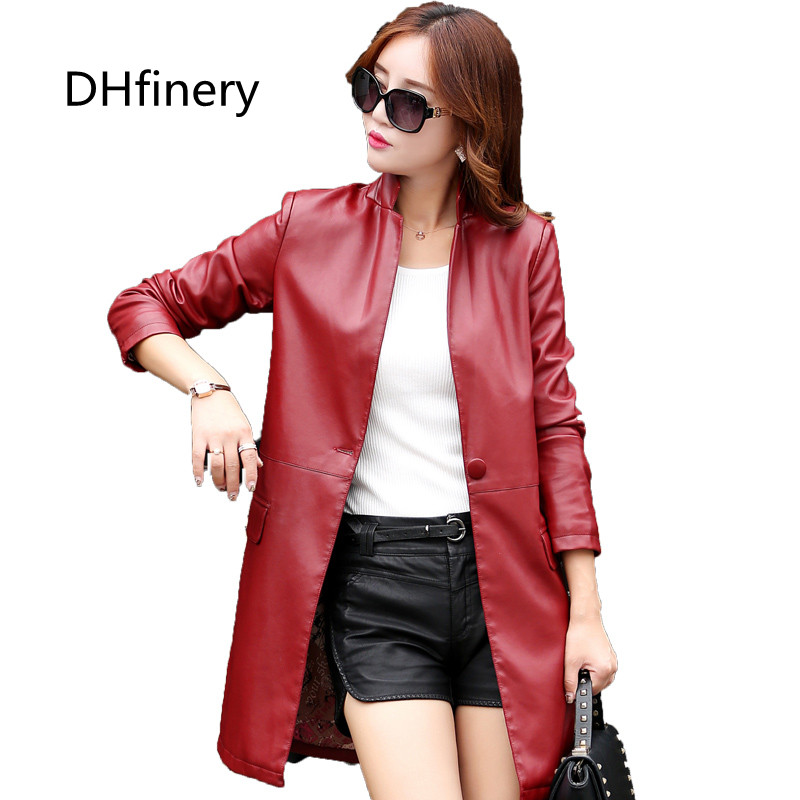 Autumn and winter Long design leather coat fashion slim leather overcoat black wine red leather jacket