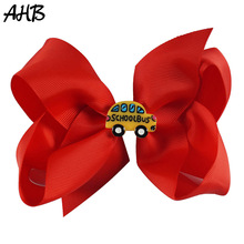 AHB 5 Back to School Hair Bows Clips for Girls Solid Grosgrain Ribbon Hairgrips Students Fashion Cute Hairpins Accessories
