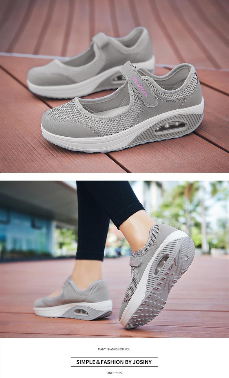 STS Brand 2019 New Fashion Women Sneakers Casual Air Cushion Hook & Loop Loafers Flat Shoes Women Breathable Mesh Mother`s Shoes (15)