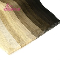 K.S WIGS 80pcs/pack Remy Human Hair Double Drawn Straight Luxury Skin Weft Tape On Hair Extensions