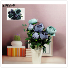Vintage Artificial Peony Silk Flowers Bouquet Wreaths Wedding Car Decoration Spring Decoration