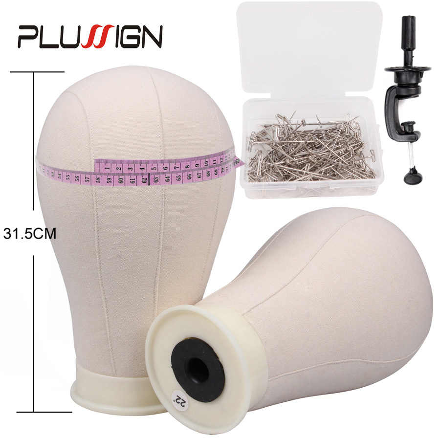 Plussign Professional Wig Block Canvas Mannequin Head With Stand Clamp For Wig Making 21-25 Inch Training Head For Hairdressers
