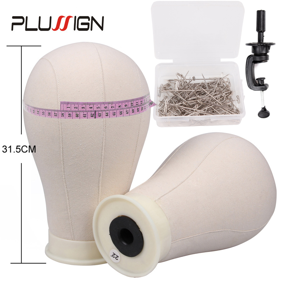Plussign Professional Wig Block Canvas Mannequin Head With Stand Clamp For Wig Making 21-25 Inch Training Head For HairdressersPlussign Professional Wig Block Canvas Mannequin Head With Stand Clamp For Wig Making 21-25 Inch Training Head For Hairdressers