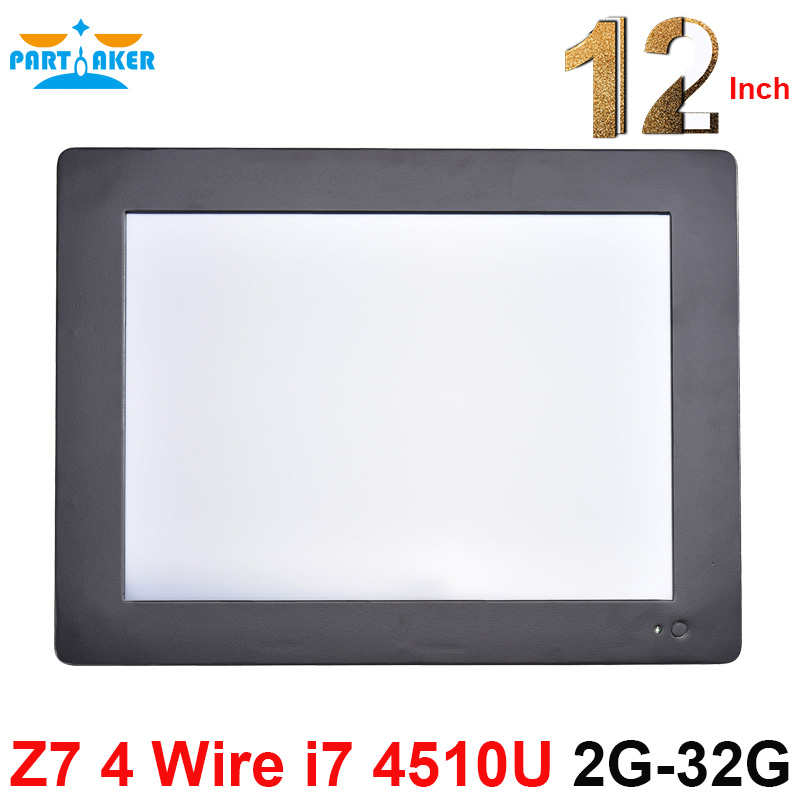 Partaker Z7 All In One PC Touchscreen With 2MM Slim Panel 2 RS232 12.1 Inch Intel Core I7 4510U 2G RAM 32G SSD