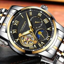 Relogio masculino GUANQIN marka luksusowy Tourbillon szkieletowy zegarek mężczyźni Sport pełny stalowy wodoodporny automatyczny zegarek mechaniczny      -