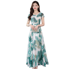 Summer new round collar posed dress chiffon beach  to show thin holiday dress printing charge waist collect waist to show thin big plaid dress