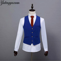 2017 Cotton Vests Chaleco Hombre New Arrival Mens Vest Suit Autumn Waistcoat For Wedding Formal Business Blazer Party Winered