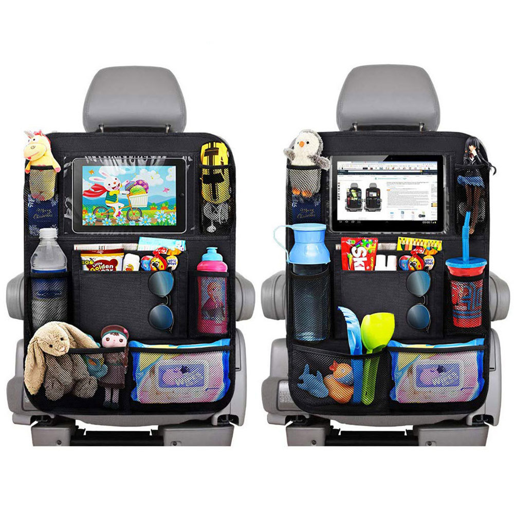 Car Backseat Organizer with Touch Screen Tablet Holder 9 Storage Pockets Kick Mats Car Seat Back