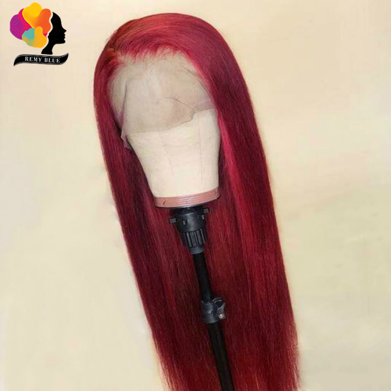 Remyblue 99J Lace Front Human Hair Wigs Ombre Burgundy Straight Human Hair Wigs Brazilian Remy Hair