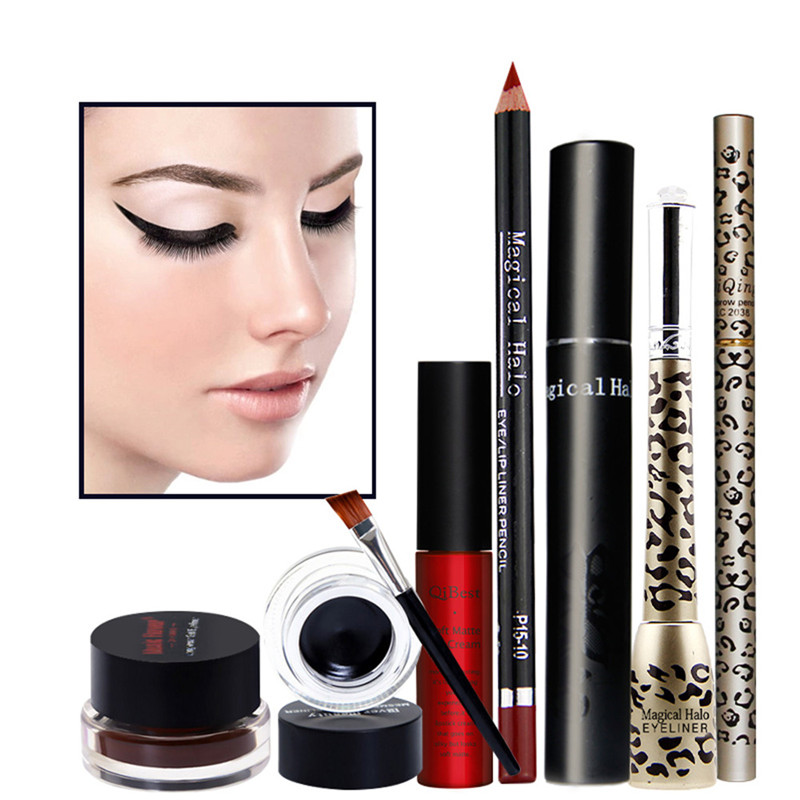 Women Value Pack Makeup Set Gift Eyeliner Cream Eye Liner Pen Eyebrow Pencil Sexy Lipstick ...