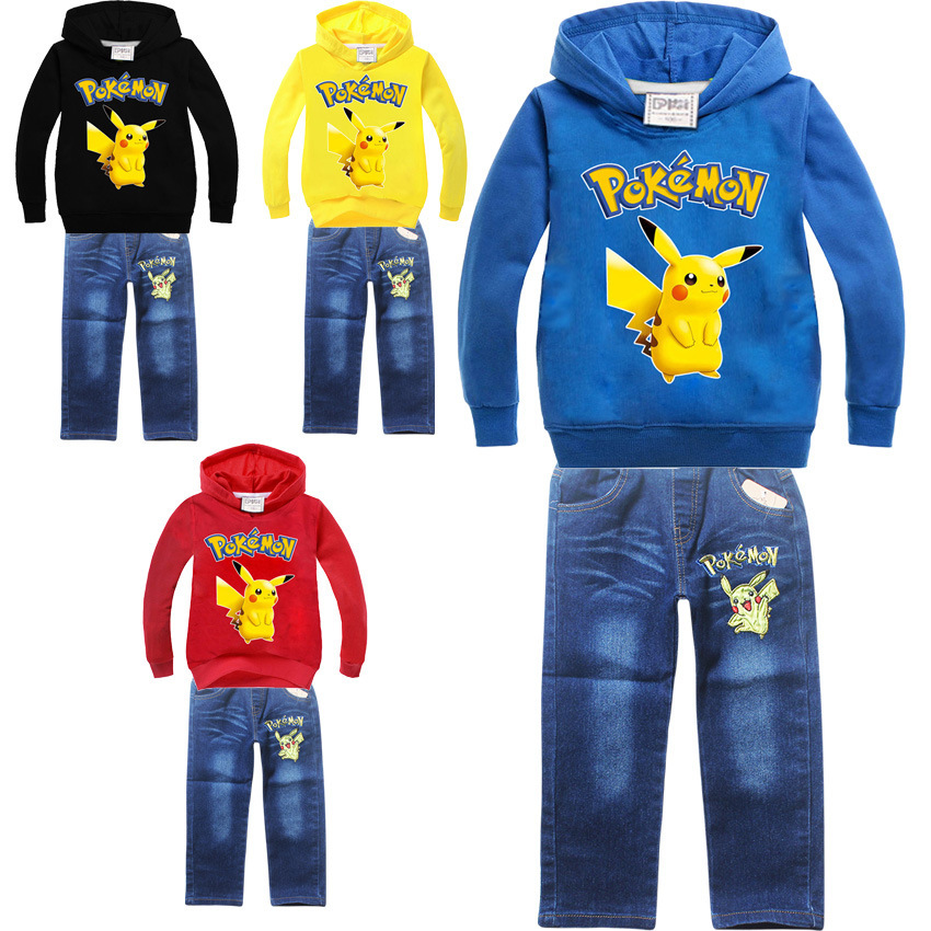 Spring Autumn pikachu brand children boys girls clothes sets boys Hooded t-shirt+Jean 2pcs/Set Children denim tracksuits for boy 3 pcs boys denim jacket long sleeve t shirt jeans autumn new 2017 children fashion casual clothes sets factory outlet brand