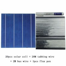20Pcs Polycrystall Solar Cell 6×6 With 20M Tabbing Wire 2M Busbar Wire and 1Pcs Flux Pen