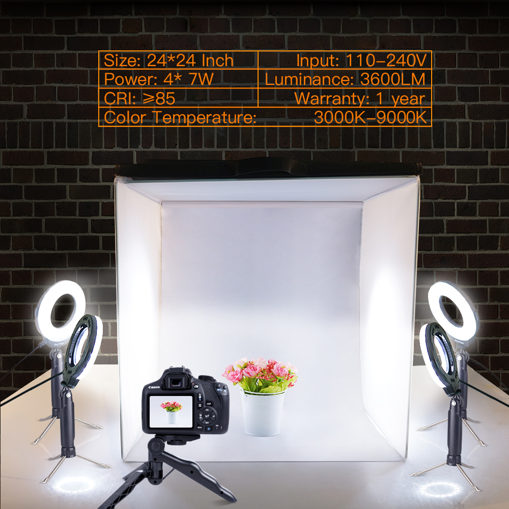 12 Filters and Phone Holder for Photography Product Photo Light Box TRAVOR Portable 24x24 Photography Studio Box Shooting Tent Kit with 4 Color Backdrops
