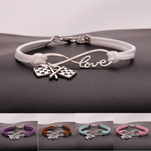 European American hot Antique Silver National flag infinity Love braided pendant bracelet Women jewelry Stylish Casual Best Gift все цены