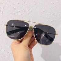 Oval Sunglasses Women Retro Brand Designer Classic Big Metal Frame Sun Glasses 2019 Luxury Ladies Sunglasses Mirror Female