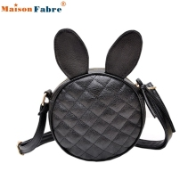 High quality Women Girl Rabbit Ear Round Leather Handbag Shoulder Messenger Mini Bag