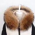Real Raccoon Fur collar Hood Winter Women Warm Coat Hooded Cap Genuine Raccoon Fur Collar Fur Solid Scarf Free Shipping S#16
