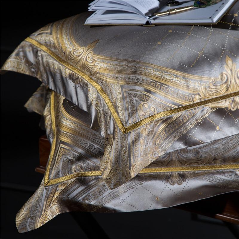 King Size 28 4 Momme Seda Amoreira Conjuntos de Peças de Cama Fios Tingidos Jacquard de Seda Quilt Cover Folha de Cama Fronha dourada Barroca - 2