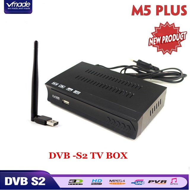 DVB-S2 Satellite Receiver + USB WiFi dongle Adapter Mini antenna support Built in WiFi software IPTV Cccamd Newcamd Set top box
