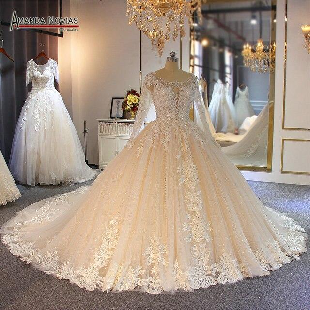 יוקרה ואגלי חתונה שמלה עם שרוולים ארוכים אמנדה novias למעלה מותג כלה שמלת 2019