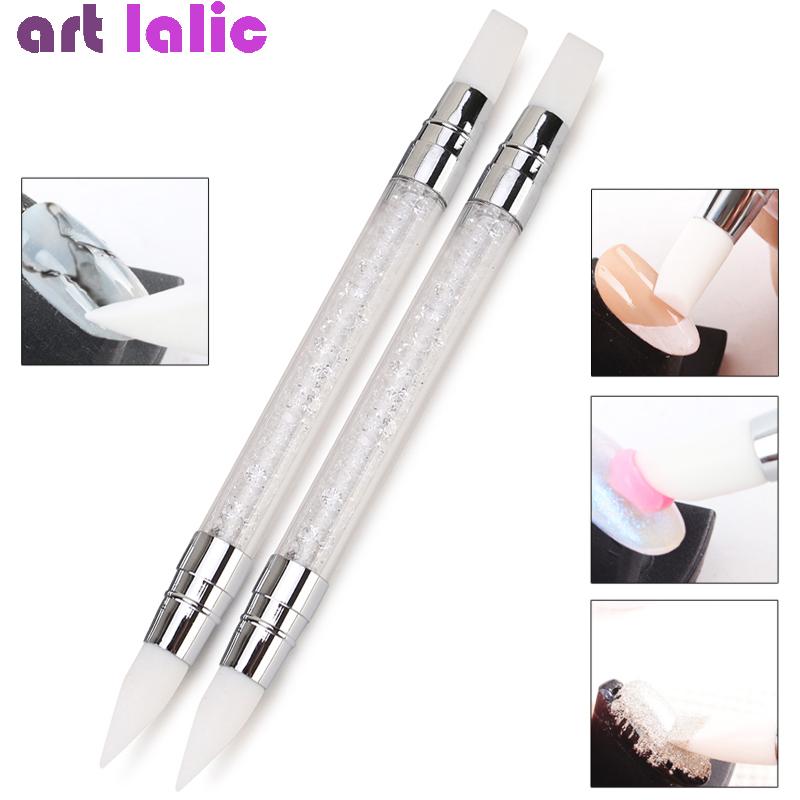 Dual-ended 2 Ways Nail Art Silicone Sculpture Pen 3D Carving DIY Glitter Powder Liquid Manicure Dotting Brush Nail Tips Tool