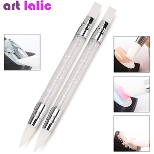 Dual-ended 2 Ways Nail Art Silicone Sculpture Pen 3D Carving DIY Glitter Powder Liquid Manicure Dotting Brush Nail Tips Tool(China)