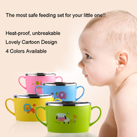 Leakproof Child Stainless Steel Bowl Unbreakable BPA Free Food Container Rice 500ML Feeder For Toddlers Baby Feeding Bowl