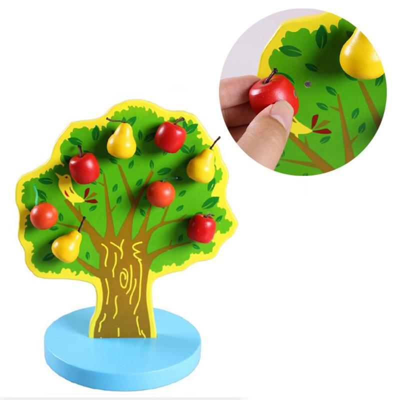 Wooden Magnetic Puzzle Toy Educational Montessori Happy Orchard Fruit Tree Magnetic Apples Pears Creative Toys for Kids Gift catch the worm magnetic toys for children early learning educational toy wooden puzzle game colorful toy for kids p20