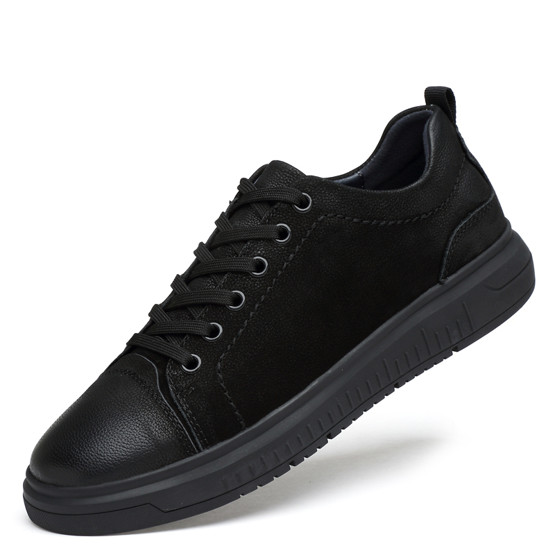 Mens casual Sneakers Fashion brogue Board Shoes men Walking Driving Shoes Flats career Genuine Leather black 36-46 top quality