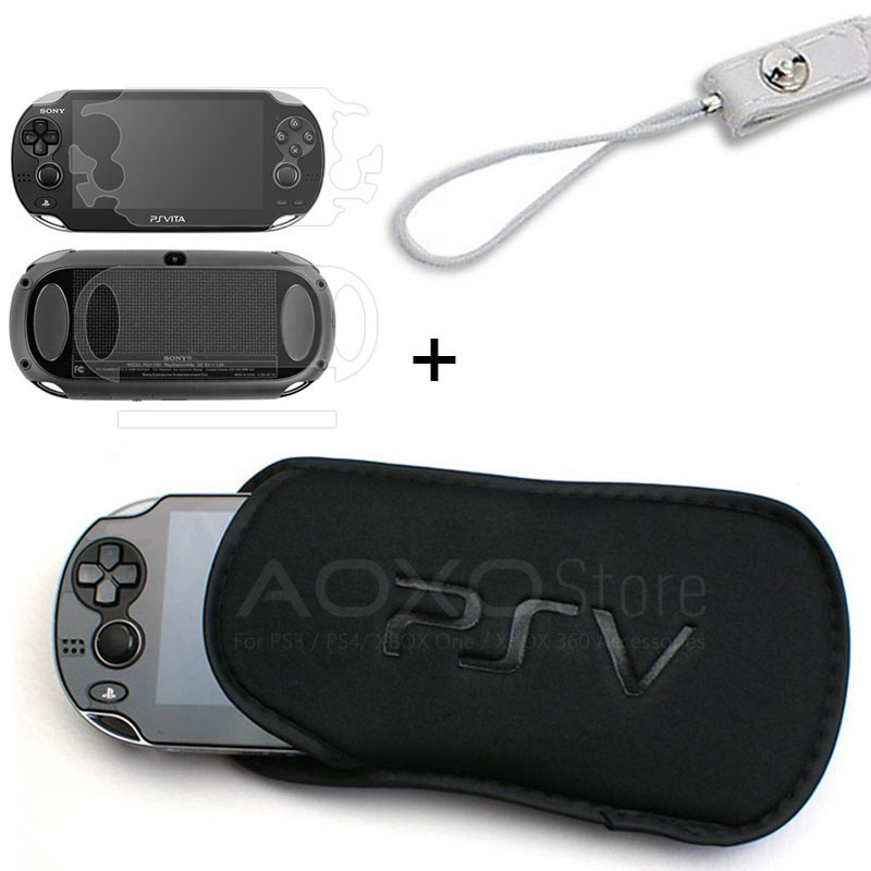 3 in 1 Screen Protector + Soft Bag PSVITA Case Shell Protector for <font><b>Sony</b></font> PSV Console Sponge Bag Game <font><b>PS</b></font> <font><b>Vita</b></font> <font><b>1000</b></font> 2000 Slim Case image