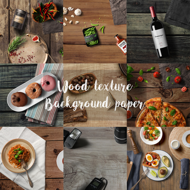 Photography Studio Background Backdrops Paper Board Wood-grain Cement Rock Texture INS Nostalgic Style for Fine Food Delicacy