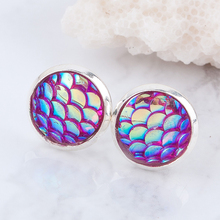 Doreen Box Copper Resin Mermaid Fish/Dragon Scale Stud Earrings Round Silver color Fuchsia AB Color W/ Stoppers 2017 new