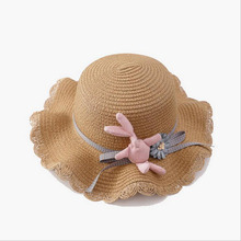 BINGYUANHAOXUAN NEW Fashion Rabbit Sun Hat Cute Childrens Bow Beach Casual Girls Summer Cap Kids Wavy Straw Sea Hats