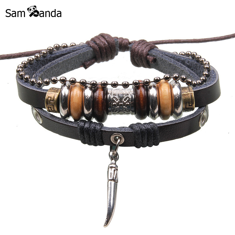 Free Shipping 2017 New Vintage Leather Wood Beads Bracelet Ws