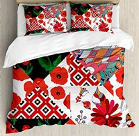 Retro Duvet Cover Set Patchwork Inspired Pattern with Poppy Flowers Russian Slavic Cultural Design Revival Bedding Set