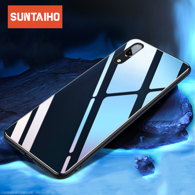 Suntaiho Case for huawei mate 20 lite case Protective Glass Phone Case for Huawei p20 Lite case cover for honor 8x 10 nova 3i 7c
