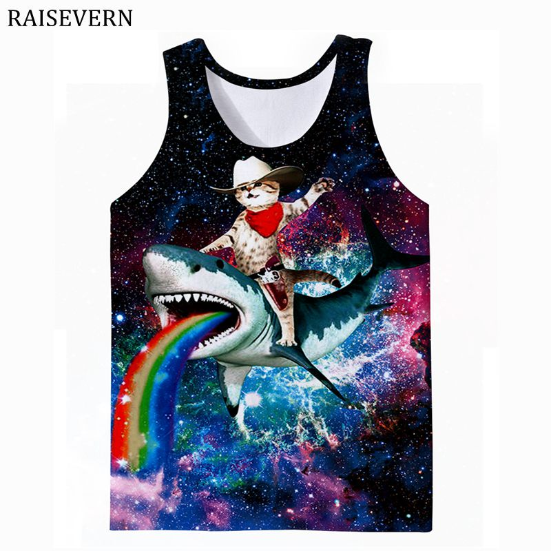 Shark and Cat 3D Print Vest Men Bodybuilding   Tank     Top   Fitness Sleeveless Shirt Male Men Clothing Sportswear Undershirt Nebula