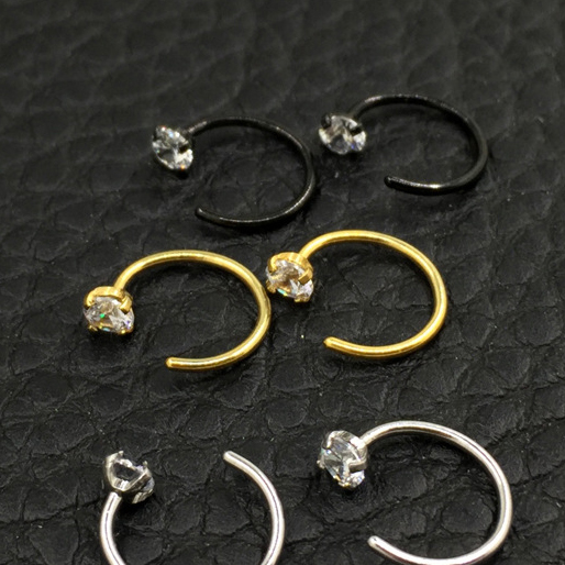Zircon Nose Ring U shaped Horseshoe ring piercing jewelry BCR eyebrow nail Lip Clear Gem 316L