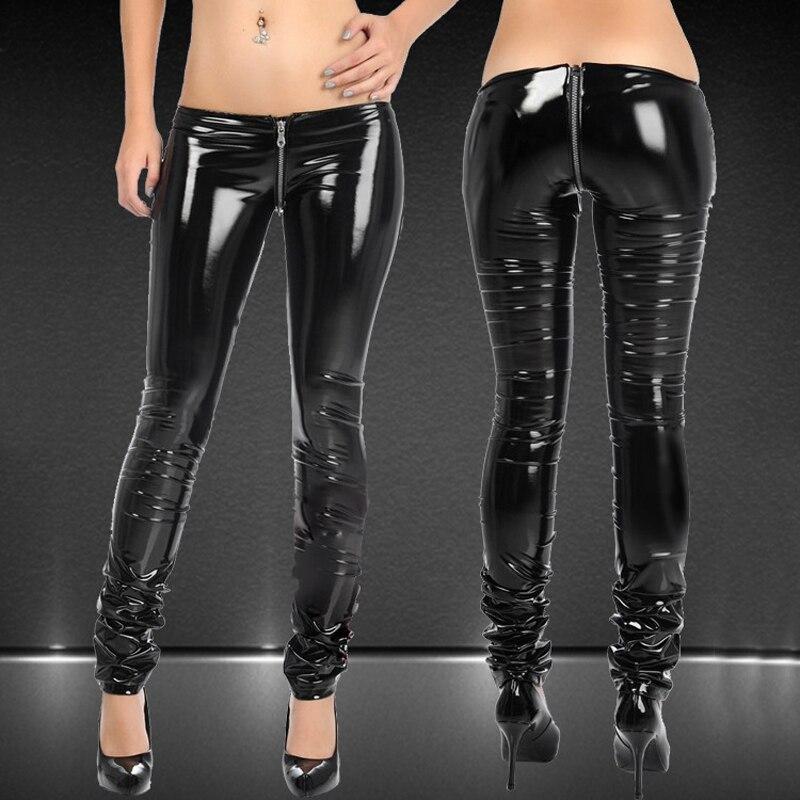 Sexy Shiny Zipper Open Crotch Pencil Pants PVC Faux Leather Low Waist Leggings Casual Pants Capris Club Dance wear Plus Size F58