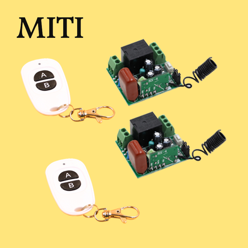 MITI RF AC 220V 1000W One Grey Transmitter 2X 2Channel Relays RF 433Mhz Smart Wireless Remote Control Light Switch 5522 ifree fc 368m 3 channel digital control switch white grey