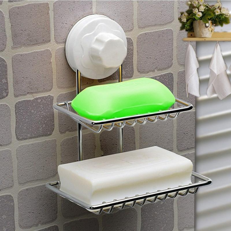 1PC Fashion Strong <font><b>Suction</b></font> <font><b>Cup</b></font> <font><b>Double</b></font> Layer Soap Dishes Water Bunk Soap Holder <font><b>Stainless</b></font> <font><b>Steel</b></font> Bath <font><b>Basket</b></font> Free Shipping