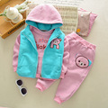 2017 Baby Girl Boys Warm 3pcs Thicken Vest Hoodies Cartoon Jacket Pants Suit Kids Clothing Sets