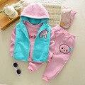 2017 Baby Girl Meninos Quente 3 pcs Engrossar Hoodies Colete Calças Jaqueta Conjuntos de Vestuário Terno Crianças Dos Desenhos Animados