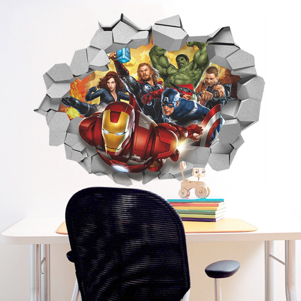 Marvel wall stickers image collections home wall decoration ideas marvel wall decals 3d stickers design 3d cartoon marvel s avengers movie wall stickers for kids amipublicfo Image collections