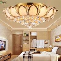 Роскошный современный фойе пластина золотой металл кристалл светодио дный светодиодный потолочный светильник Лотос Дизайн стекло блеск х
