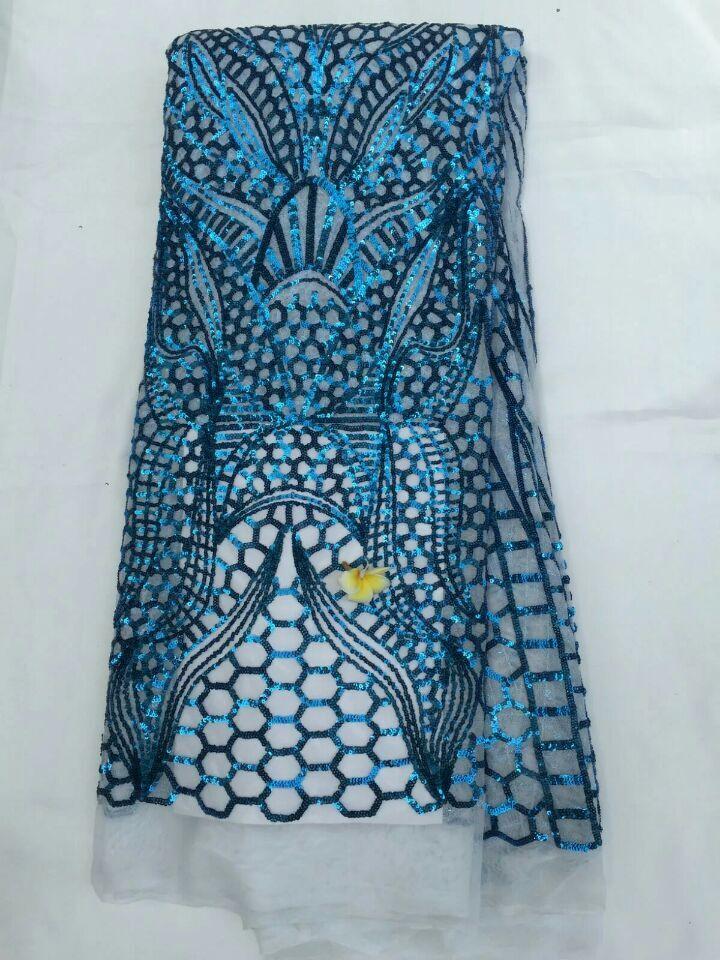 Nouvelle mode africaine maille dentelle robe de soirée avec paillettes modèle français net dentelle tissu pour vêtements QN44, 5 yards/pc - 6